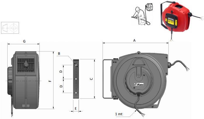 Demac 700 enrouleur pour câble schéma technique