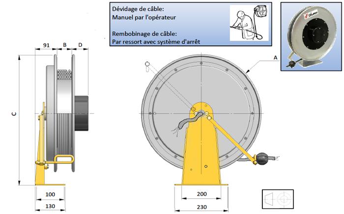 Demac 500 enrouleur câble électrique schéma technique