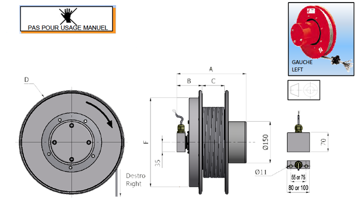 Demac CR.10 enrouleur câble schema technique