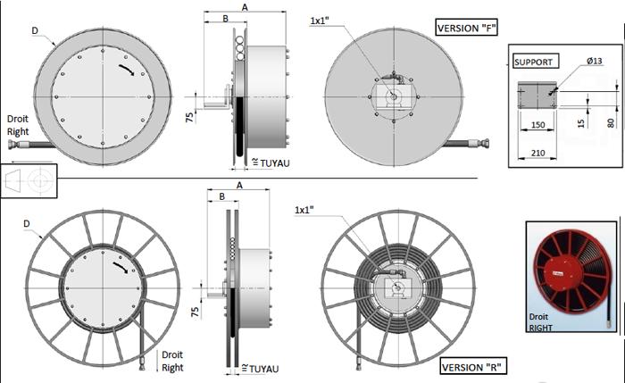 Demac A1.25 enrouleur hydraulique schéma technique