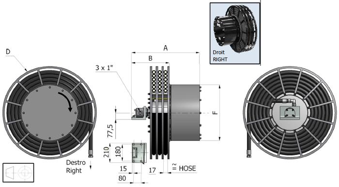 Demac A3.25 enrouleur hydraulique schéma technique