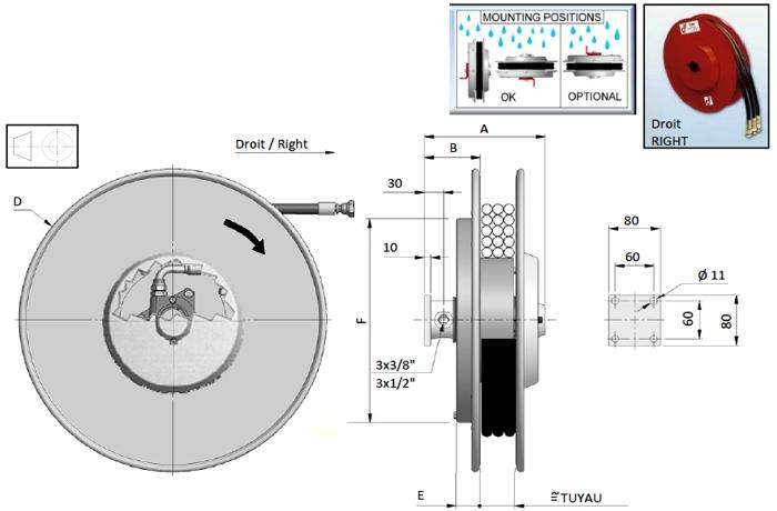 Demac A3 enrouleur hydraulique schéma technique