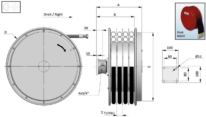 Demac A4.19 enrouleur hydraulique schéma technique