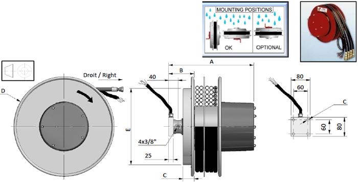 Demac A4/E enrouleur hydraulique cable schéma technique
