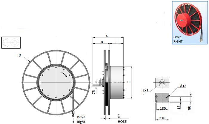 Demac AG25 enrouleurs hydraulique schéma technique