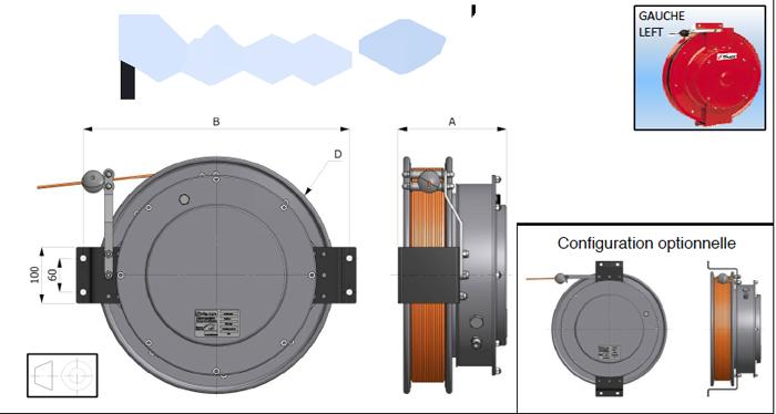 Demac LR enrouleur cable capteurs longueur inclinaison schéma technique