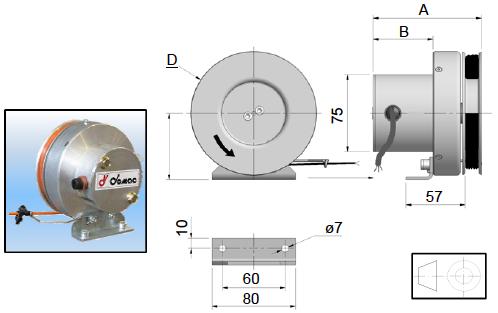 Demac LR120 enrouleur cable capteur longueur schéma technique