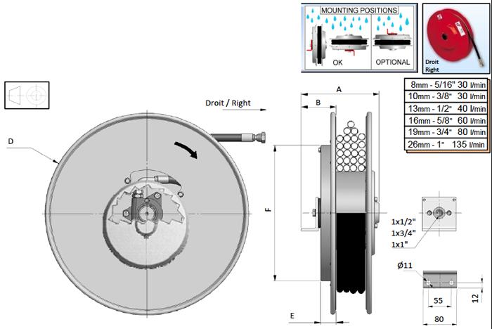 Demac M1 enrouleur hydraulique schéma technique