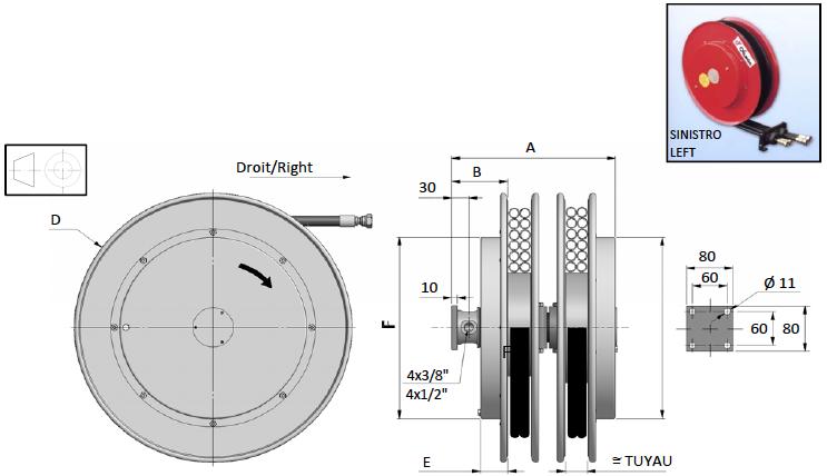 Demac M4 enrouleur hydraulique schéma technique