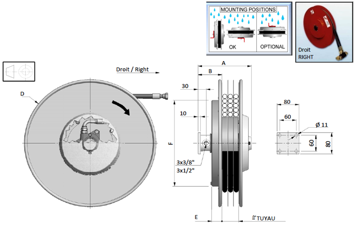 Demac S3 enrouleur hydraulique schéma technique